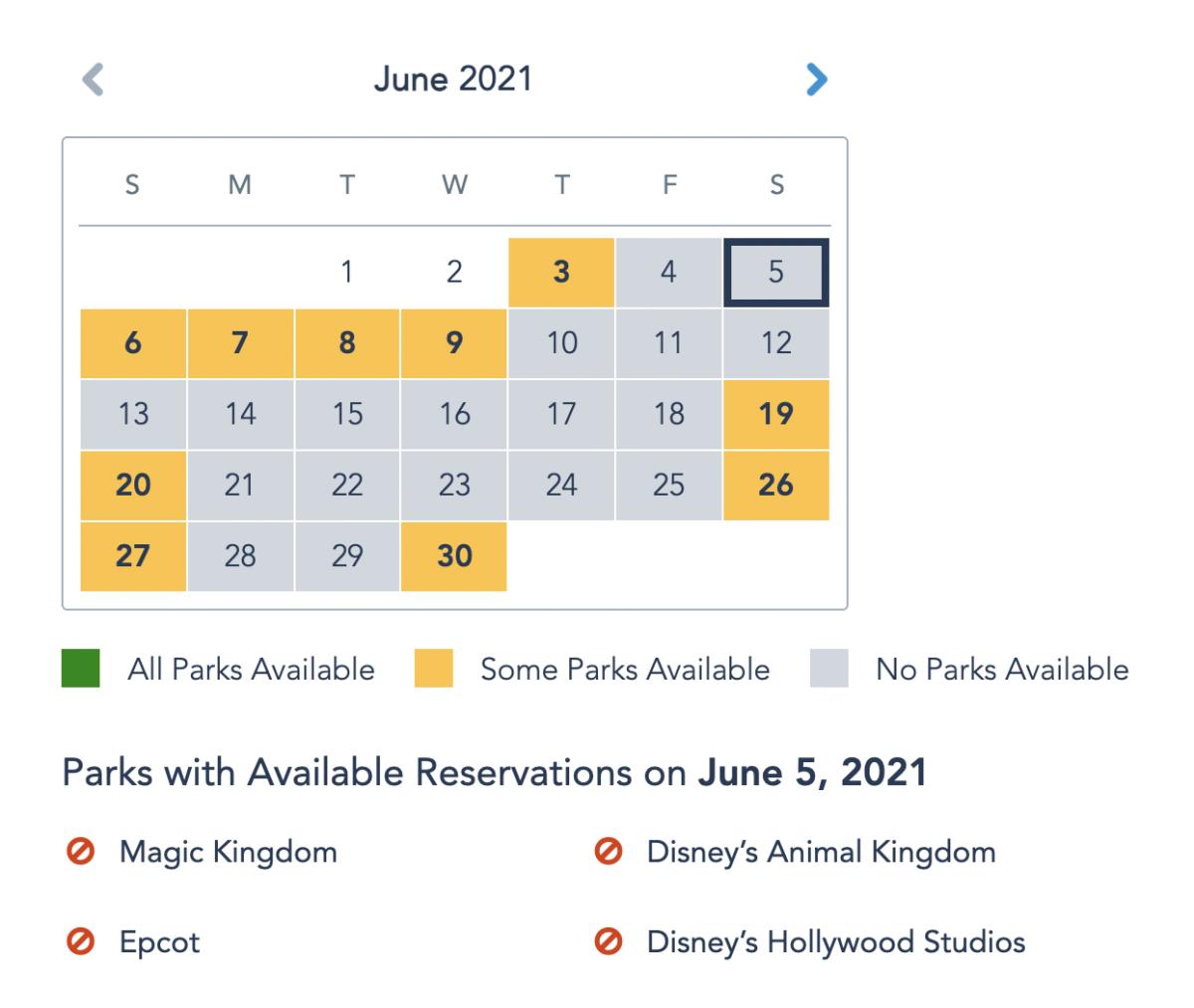 Park Reservation Availability June