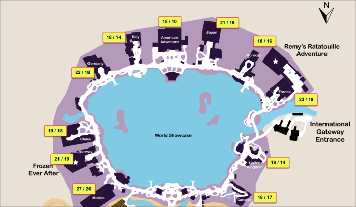 A map showing the re-ride / first-time percentages for the World Showcase Pavilions