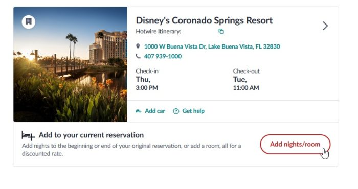 Hotwire Add Dates to Reservation Example