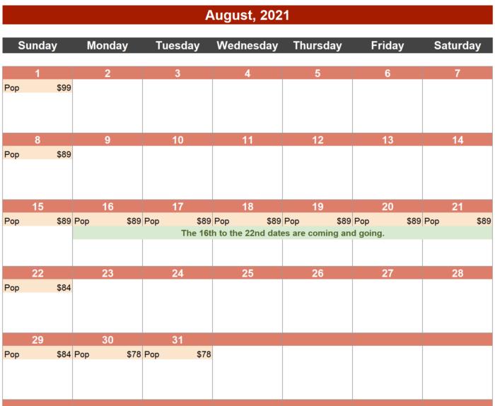 Calendar of Pop Deals, August 2021