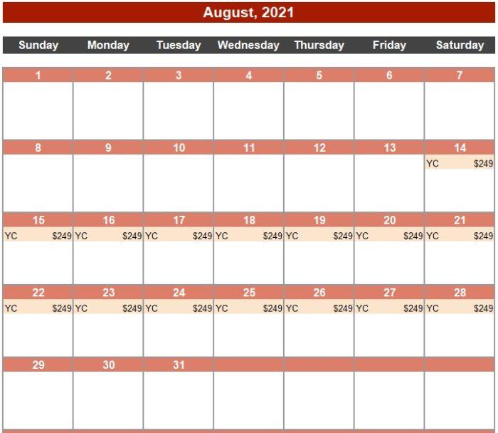 Calendar of Deals Yacht Club August 2021