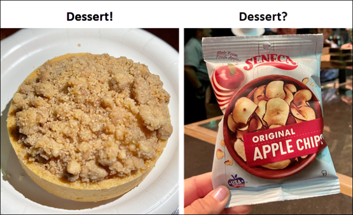 Picture of the apple crumble tart and apple chips