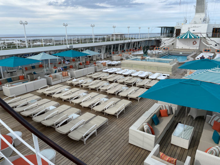 Picture of the sundeck and the pool on the Crystal Symphony.