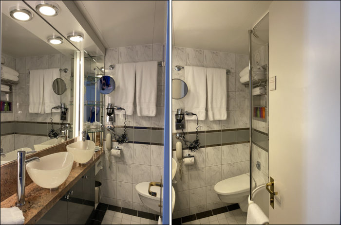 Pictures of the bathroom in a Verandah stateroom on the Crystal Symphony