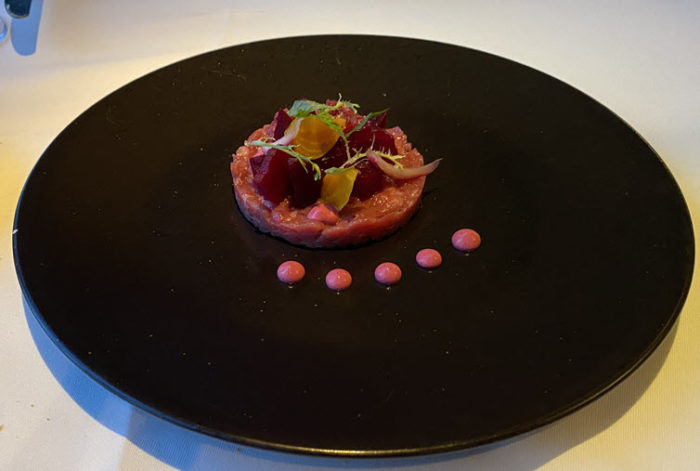 Image of Wagyu Beef Tartare dish from Crystal Symphony Waterside Dining Room