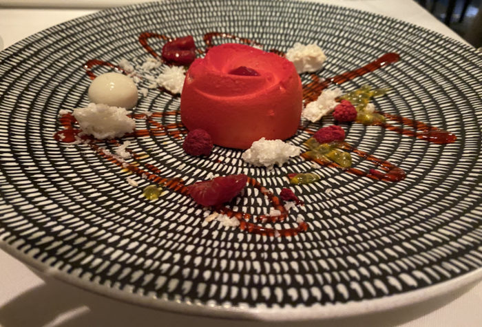 Picture of White Chocolate Passion Fruit Delice Dessert from the Waterside Dining Room, Crystal Symphony