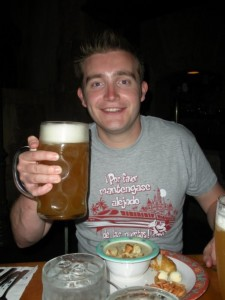 Here's Tom enjoying his liter of beer!