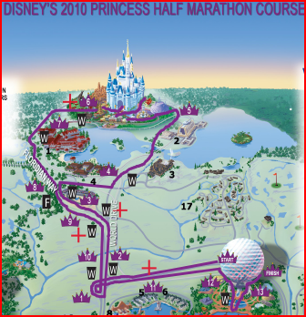 Disney's Princess Half Marathon map 2010