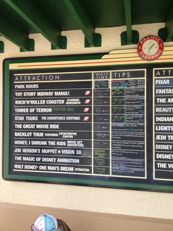 Toy Story Mania Outage on Tip Board