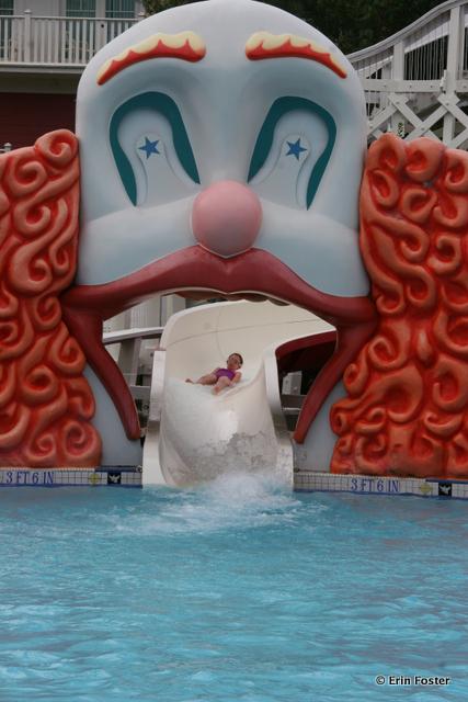 Boardwalk, Luna Park pool, clown slide exit