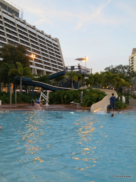 Contemporary, main pool, slide