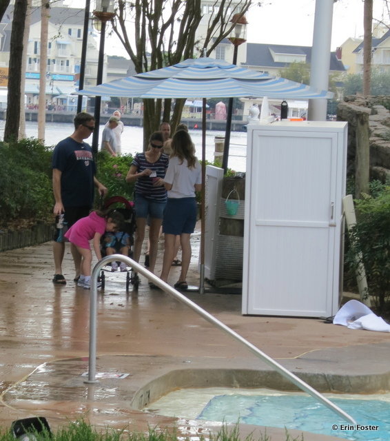 Yacht & Beach Club, cast member checking IDs for Stormalong Bay entry