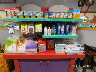 Supplies for sale at the Animal Kingdom Baby Care Center.