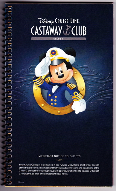Your official Disney Cruise Line documents will come in a spiral-bound booklet.
