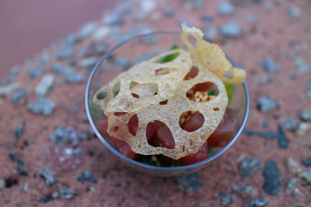 Tuna Poke with Seaweed Salad and Lotus Root Chips