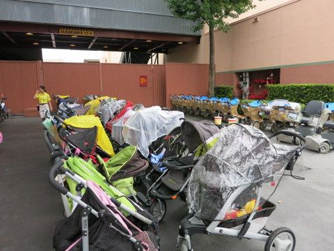 Stroller parking area at Disney's Hollywood Studios, near Toy Story Mania. Cast members will rearrange stroller to keep the area organized