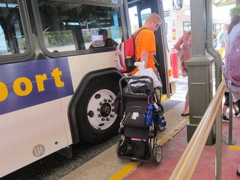 You must fold your stroller to bring it onto a Disney bus