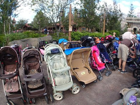 Stroller parking zone at the Magic Kingdom's New Fantasyland area