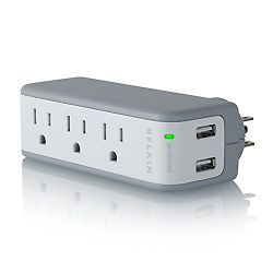 A compact power strip can make hotel room life more comfortable.