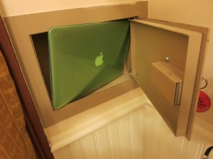 "My attempt to get a 13"" MacBook air into a safe at Port Orleans Riverside. The laptop did not fit and instead became quite stuck. I spent several panicky minutes trying to extract it. Do NOT try this yourself."