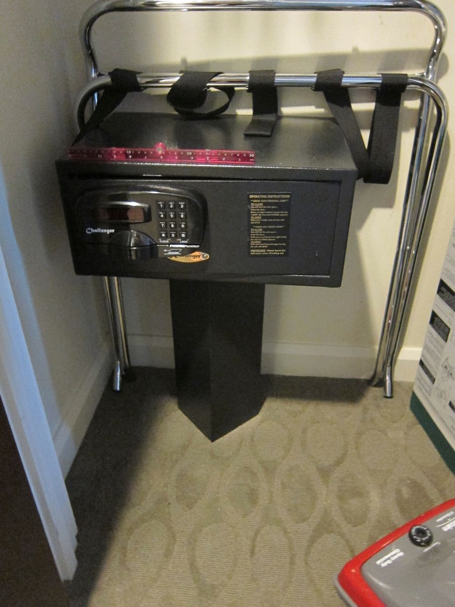 Pedestal Style Safe At Bay Lake Towers. One Foot Rule On Top Gives A Sense