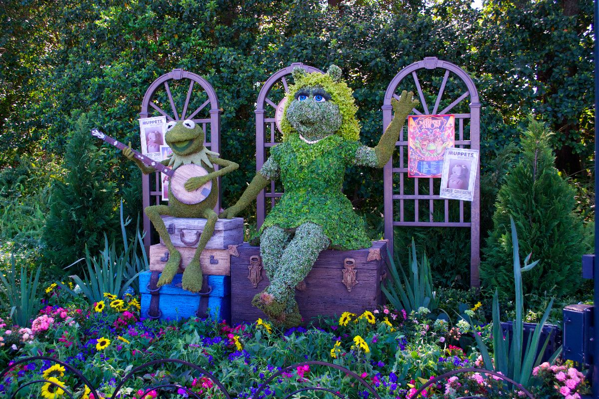 The Muppets topiary, featuring Kermit and Miss Piggy, is new to Flower & Garden this year.