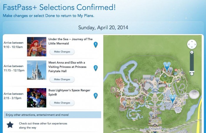 Screenshot of the FastPass+ confirmation
