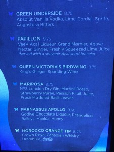 The specialty drink menu at Evolution