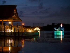 The Electrical Water Pageant from the beach at Polynesian Village Resort