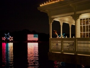 View of Narcoossee's during the Electrical Water Pageant showing the viewing verandah.