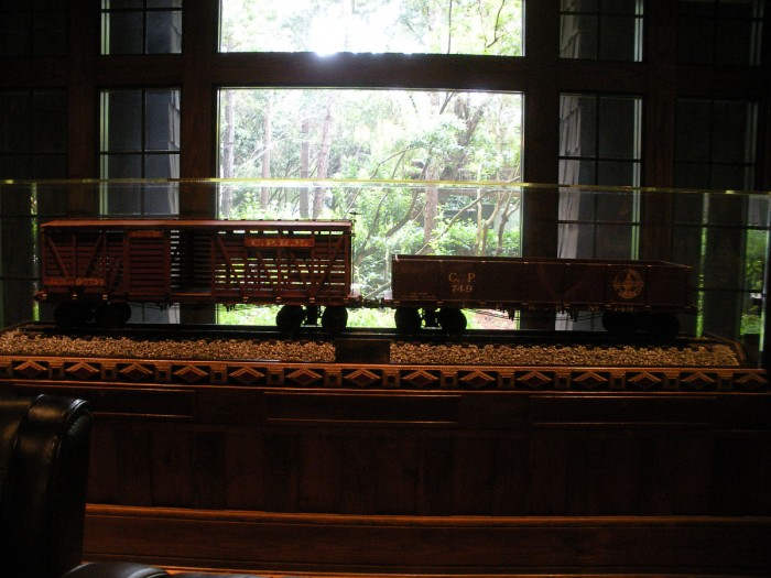 Actual cars from Walt Disney's personal to scale railroad, the Carolwood Pacific.