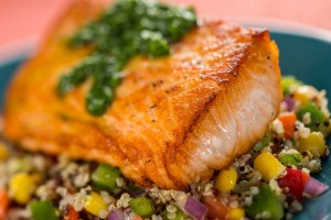Roasted Verlasso Salmon with Quinoa Salad and Arugula Chimichurri from the new Patagonia Marketplace ©Disney