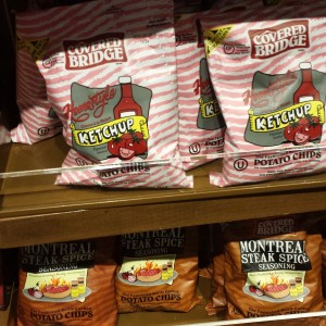 A photo of chips, from Canada, ketchup flavored