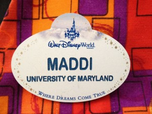 Disney World cast member name tag