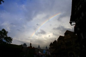 Rainbow over Fantasyland in the Magic Kingdom during a typical summer afternoon thunderstorm.  Photo by Thomas Cook