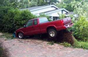 Large tree uprooted lifting truck - the aftermath of Hurricane Charley in 2004.  Photo by Thomas Cook