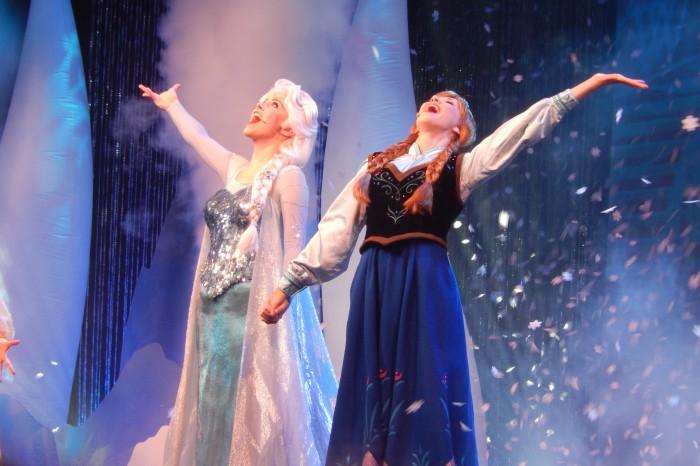Frozen Sing Along - Elsa and Anna, at Disney's Hollywood Studios, photo credit Kylene Hamulak