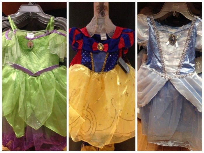 Disney Store princess dresses, fall 2014. Tinker Bell, Snow White, Cinderella.