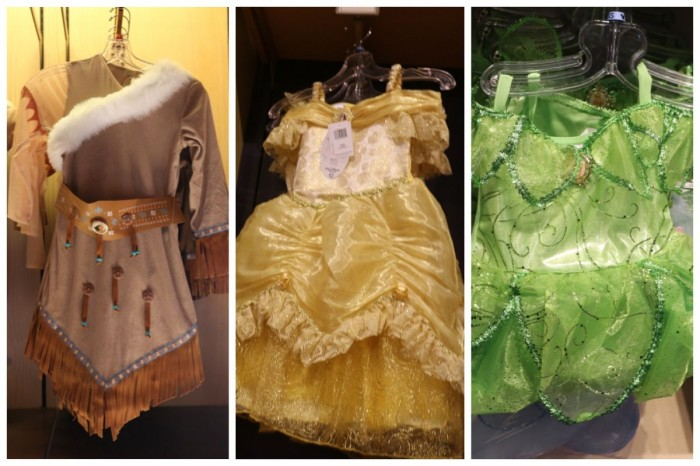 Disney Parks Princess Dresses, fall 2014. Pocahantas, Belle, Tinker Bell