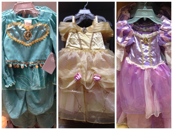 Disney Store princess dresses, fall 2014. Jasmine, Belle, Rapunzel.