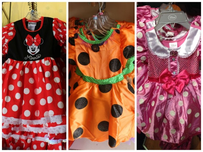 Minnie dresses, fall 2014. Disney Parks classic (left), Disney Parks Halloween (center), Disney Store (right)