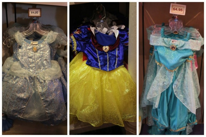 Disney Parks Princess Dresses, fall 2014. Cinderella, Snow White, Jasmine.