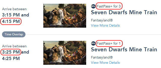 With these overlapping selections, all 4 members of my party can ride Seven Dwarfs Mine Train between 3:25 PM and 4:15 PM