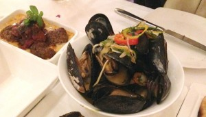 California Grill Mussels and Meatballs -Natalie Reinert