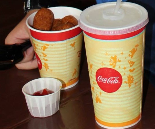 corn dog nuggets and water