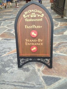 Be Our Guest Restaurant FastPass+ sign