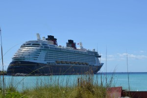 The best view on Castaway Cay is back at the ship