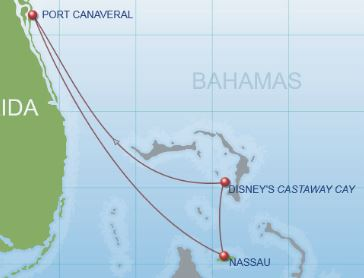 Route of 4-Night Bahamian Cruise on the Disney Dream