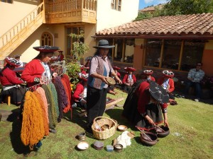 Traditional textile demonstration, weaving and dying.