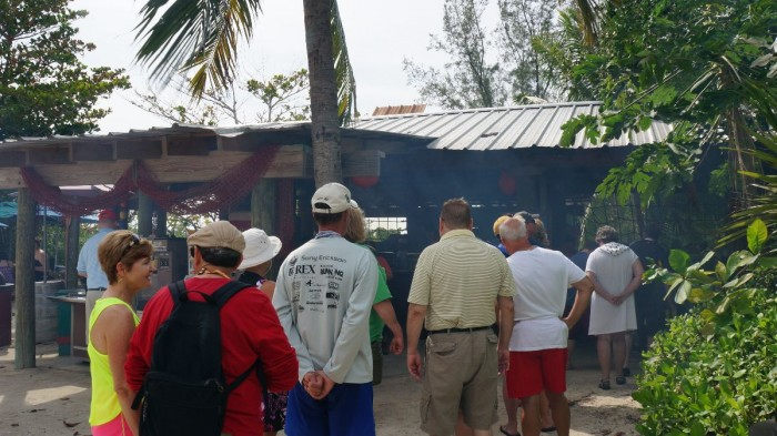 The line at Serenity Bay for lunch during peak time